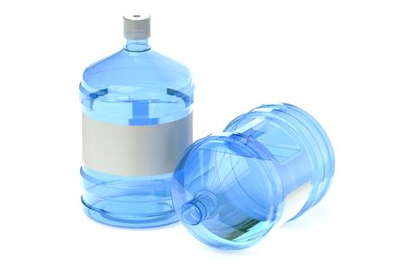 tomando agua: dos botellas grandes de agua aisladas sobre fondo blanco