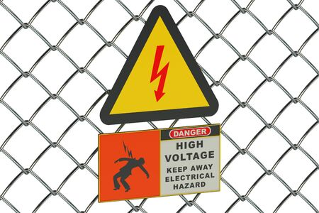 voltage sign: High Voltage sign on guard metallic mesh Stock Photo