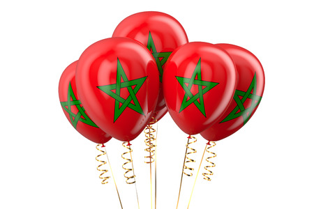 declaration of independence: Morocco patriotic balloons   isolated on white background