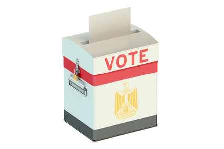 bandera de egipto: ballot box with flag of Egypt isolated on white background