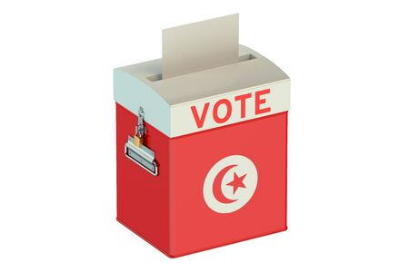 tunis: ballot box with flag of Tunis isolated on white background