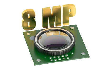 mp: camera for smartphone 8 MP isolated on white background Stock Photo