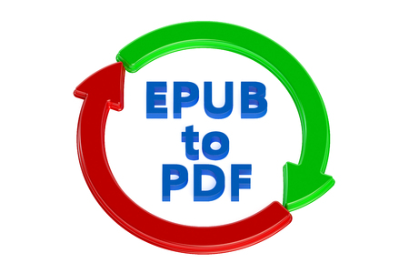 converting: converting epub to pdf concept isolated on white background Stock Photo