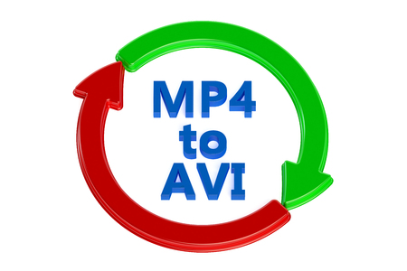 avi: converting mp4 to avi concept isolated on white background Stock Photo