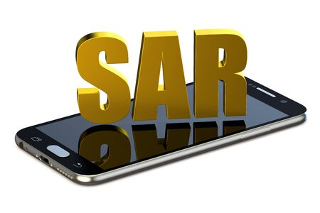 SAR concept with cell phone isolated on white background Stock Photo