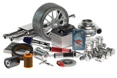 repuestos de carros: conjunto de piezas de coches aislados sobre fondo blanco
