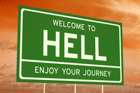 Welcome to Hell concept on road billboard