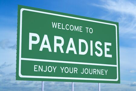 accomplishments: Welcome to Paradise concept on road billboard