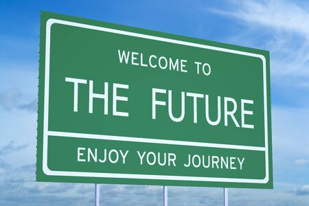 accomplish: Welcome to the Future concept on road billboard