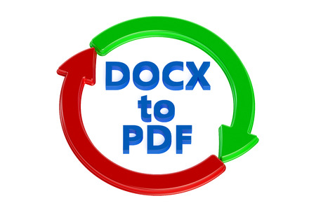 converting: converting docx to pdf concept isolated on white background