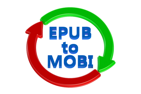 converting: converting epub to mobi concept isolated on white background