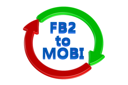 converting: converting fb2 to mobi concept isolated on white background