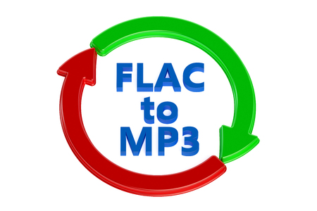 converting: converting flac to mp3 concept isolated on white background