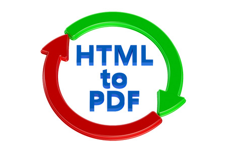 converting: converting html to pdf concept isolated on white background