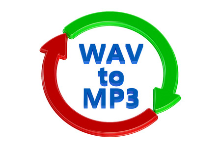 converting: converting wav to mp3 concept isolated on white background