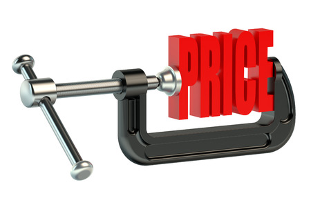 price in clamp isolated on white background