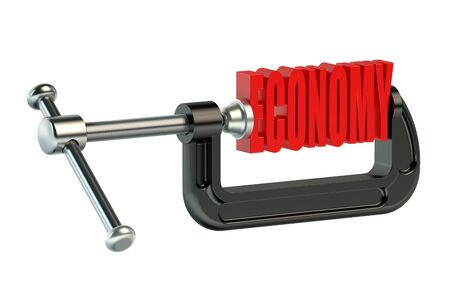 clamp: economy concept in clamp isolated on white background