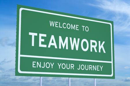 accomplish: Welcome to Teamwork concept  on road billboard Stock Photo