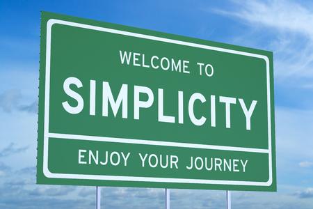Welkom op eenvoud concept op de weg billboard