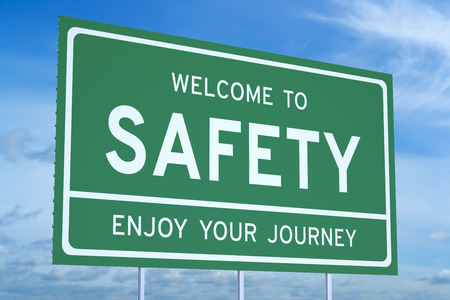 accomplish: Welcome to Safety concept on road billboard