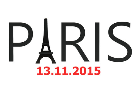 bombings: Paris attacks november 2015 concept isolated on white background