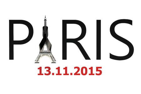 bombings: Paris terror attacks concept isolated on white background Stock Photo