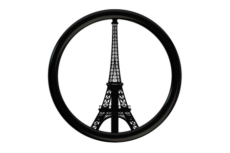 shootings: Paris terror attacks symbol concept isolated on white background