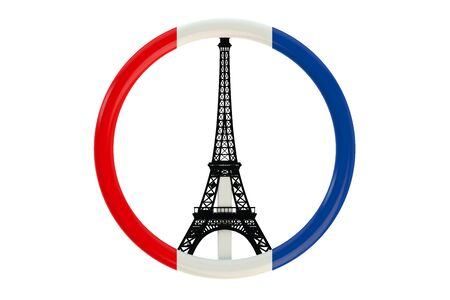 shootings: Paris terror attacks symbol concept with flag isolated on white background