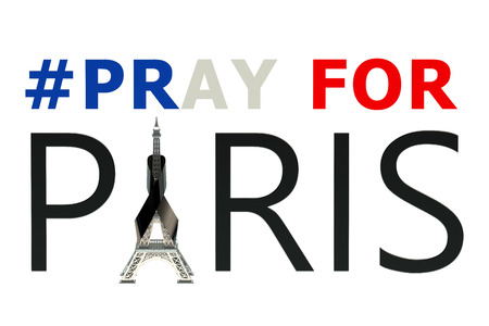 shootings: pray for Paris isolated on white background Stock Photo