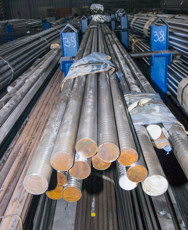 aluminum rod: steel round bars in factory warehouse