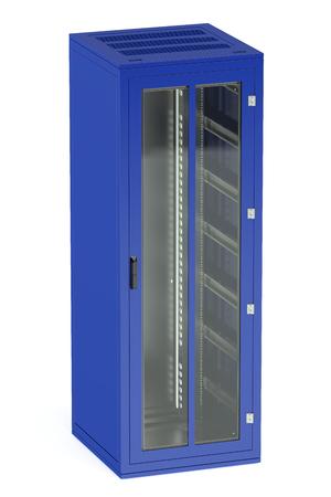 rack: blue server rack isolated on white background