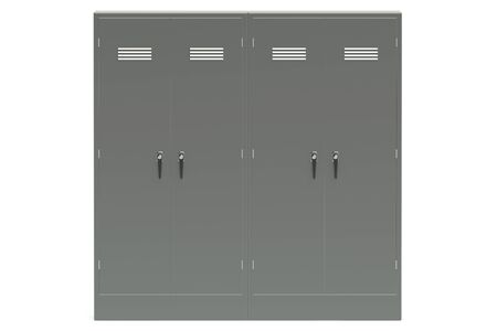 undressing: Grey metal lockers closeup isolated on white background