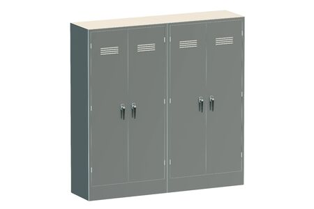 undressing: Grey metal lockers isolated on white background