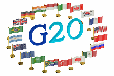 industrialized country: Summit G20 concept isolated on white background Stock Photo