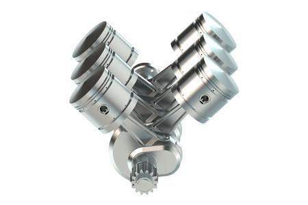 V6 engine pistons isolated on white background