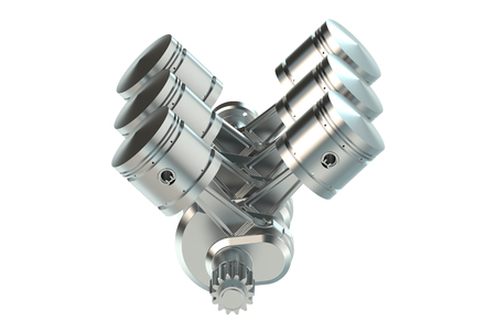 pistons: V6 engine pistons isolated on white background