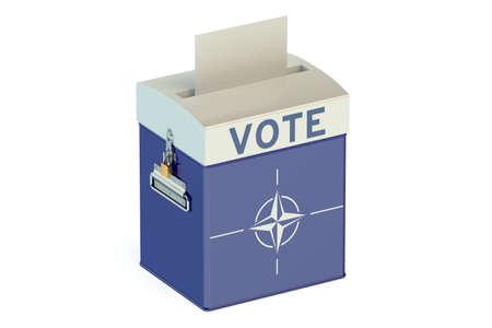 nato: voting concept with flag of NATO on ballot box Stock Photo