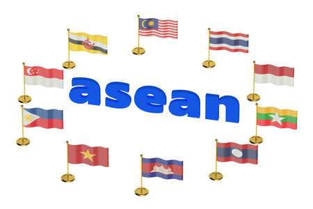 industrialized country: ASEAN concept  isolated on white background