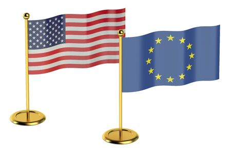 foreign policy: meeting USA with EU concept isolated on white background Stock Photo