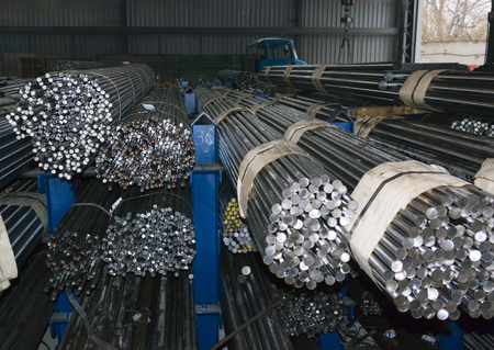 stockroom: steel rods in factory warehouse