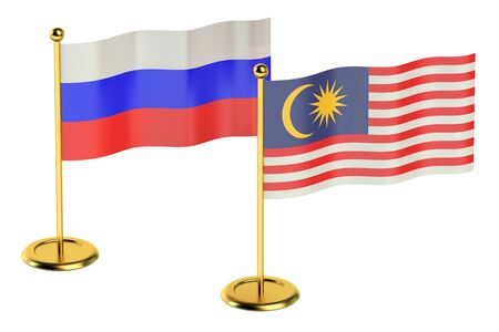 industrialized country: meeting Malaysia with Russia concept isolated on white background