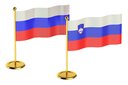 industrialized country: meeting Slovenia with Russia concept isolated on white background