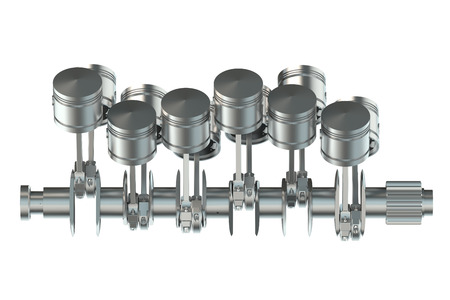 camshaft: V12 engine pistons isolated on white background