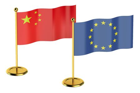 industrialized country: meeting China with EU concept isolated on white background