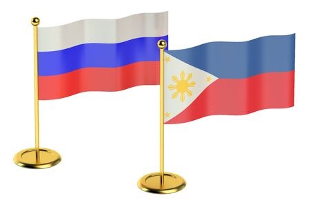 industrialized country: meeting Philippines with Russia concept isolated on white background