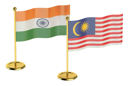 industrialized country: meeting India with Malaysia concept isolated on white background