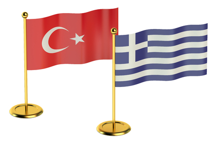 economic issues: meeting Turkey with Greece concept isolated on white background Stock Photo
