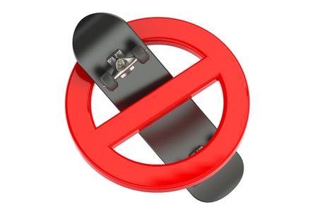 interdiction: planche à roulettes interdiction signe isolé sur fond blanc