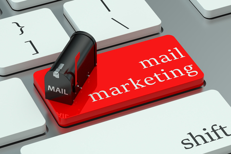 mail: mail marketing concept, red hot key on the keyboard