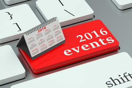 event planning: 2016 events concept on the keyboard